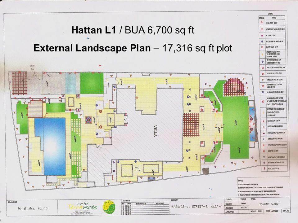 Hattan L1 / BUA 6,700 sq ft External Landscape Plan – 17,316 sq ft plot