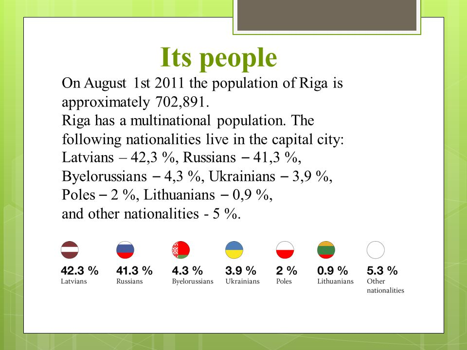 Its people On August 1st 2011 the population of Riga is approximately 702,891. Riga has a multinational population. The following nationalities live i
