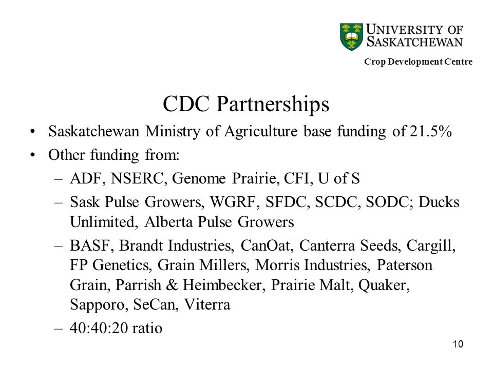 10 CDC Partnerships Saskatchewan Ministry of Agriculture base funding of 21.5% Other funding from: –ADF, NSERC, Genome Prairie, CFI, U of S –Sask Puls