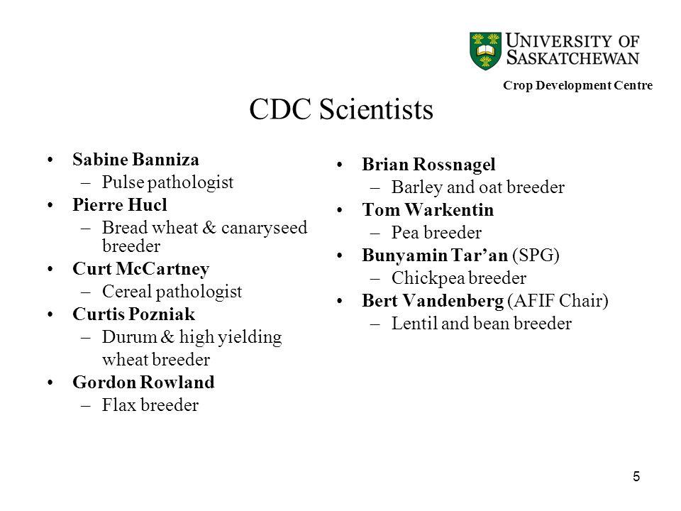 5 CDC Scientists Sabine Banniza –Pulse pathologist Pierre Hucl –Bread wheat & canaryseed breeder Curt McCartney –Cereal pathologist Curtis Pozniak –Du