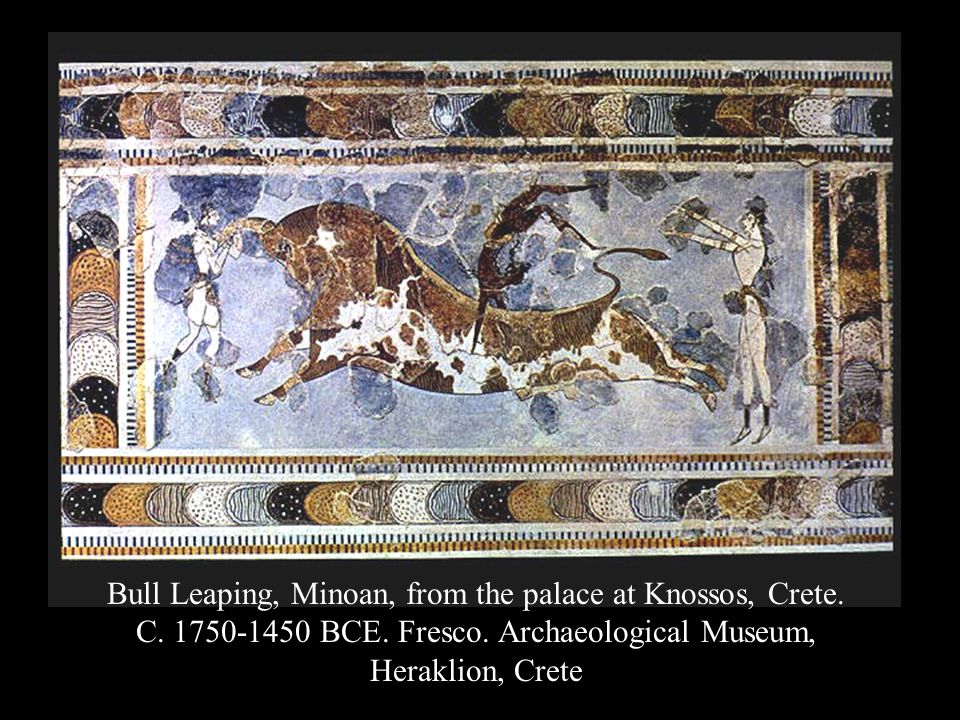 Bull Leaping, Minoan, from the palace at Knossos, Crete.