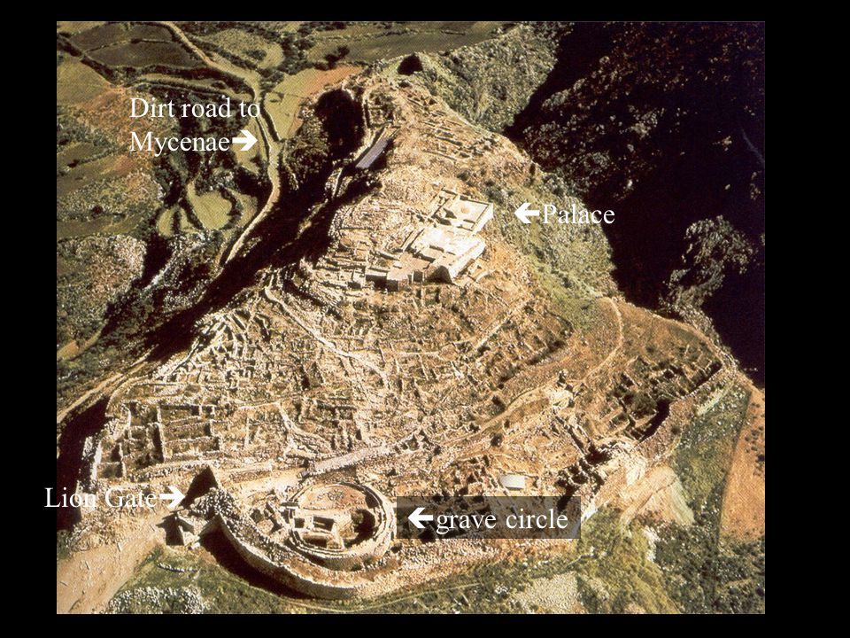 Palace grave circle Lion Gate Dirt road to Mycenae