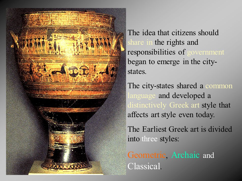 The idea that citizens should share in the rights and responsibilities of government began to emerge in the city- states.