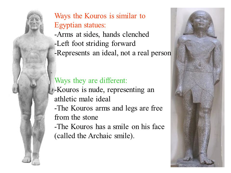 Ways the Kouros is similar to Egyptian statues: -Arms at sides, hands clenched -Left foot striding forward -Represents an ideal, not a real person Ways they are different: -Kouros is nude, representing an athletic male ideal -The Kouros arms and legs are free from the stone -The Kouros has a smile on his face (called the Archaic smile).