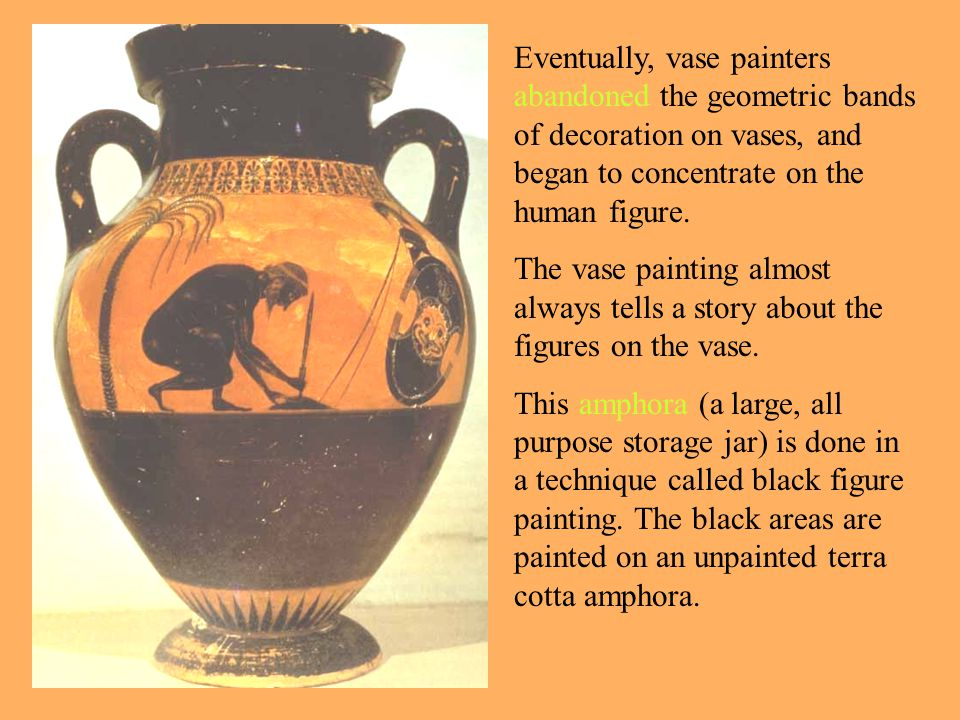 Eventually, vase painters abandoned the geometric bands of decoration on vases, and began to concentrate on the human figure. The vase painting almost