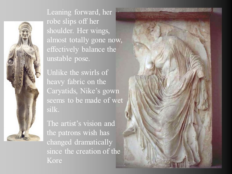 Leaning forward, her robe slips off her shoulder. Her wings, almost totally gone now, effectively balance the unstable pose. Unlike the swirls of heav