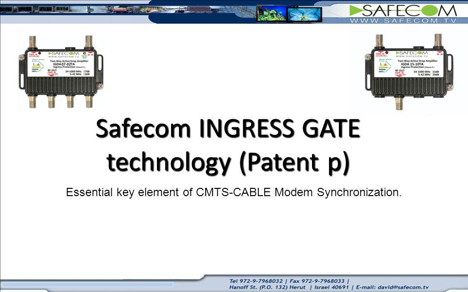 Essential key element of CMTS-CABLE Modem Synchronization. Safecom INGRESS GATE technology (Patent p)