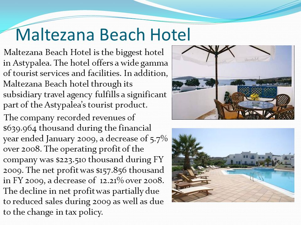 Maltezana Beach Hotel Maltezana Beach Hotel is the biggest hotel in Astypalea. The hotel offers a wide gamma of tourist services and facilities. In ad