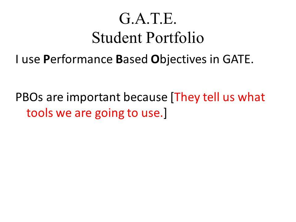 G.A.T.E. Student Portfolio Microsoft Excel Spreadsheet