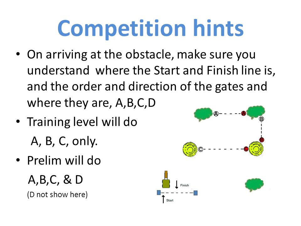 On arriving at the obstacle, make sure you understand where the Start and Finish line is, and the order and direction of the gates and where they are, A,B,C,D..