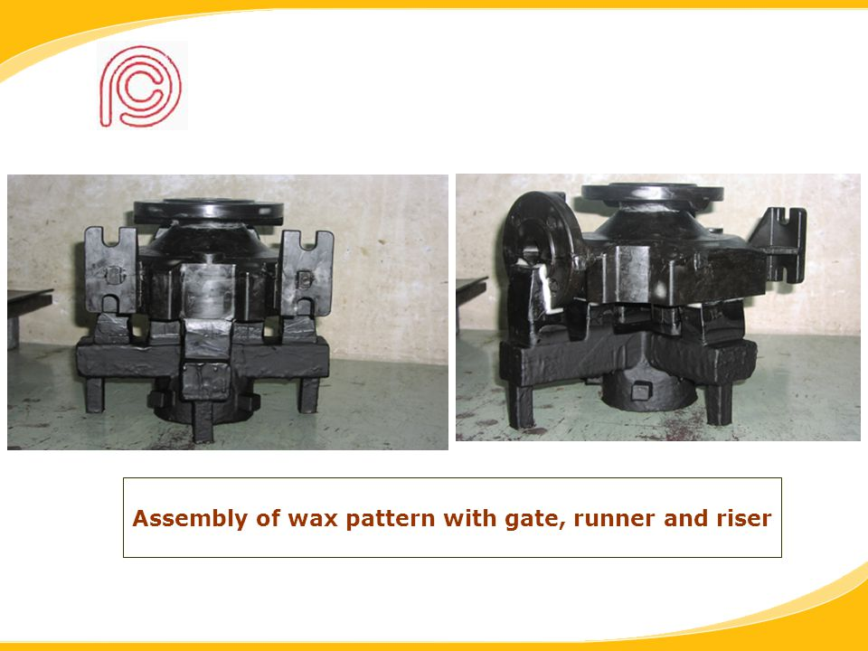 Assembly of wax pattern with gate, runner and riser