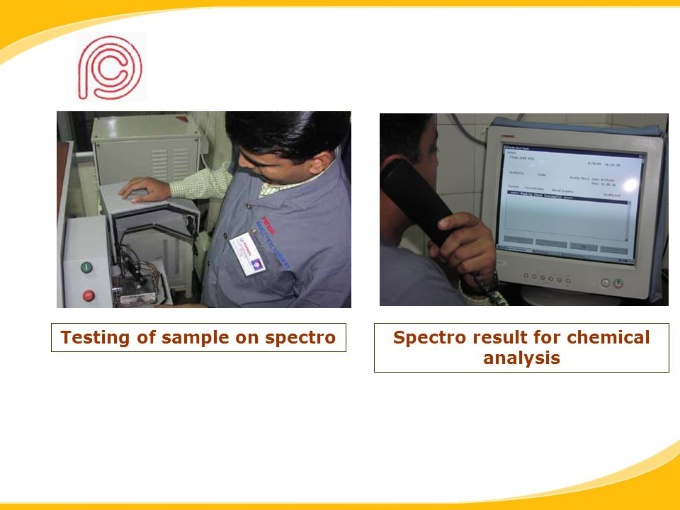 Testing of sample on spectroSpectro result for chemical analysis