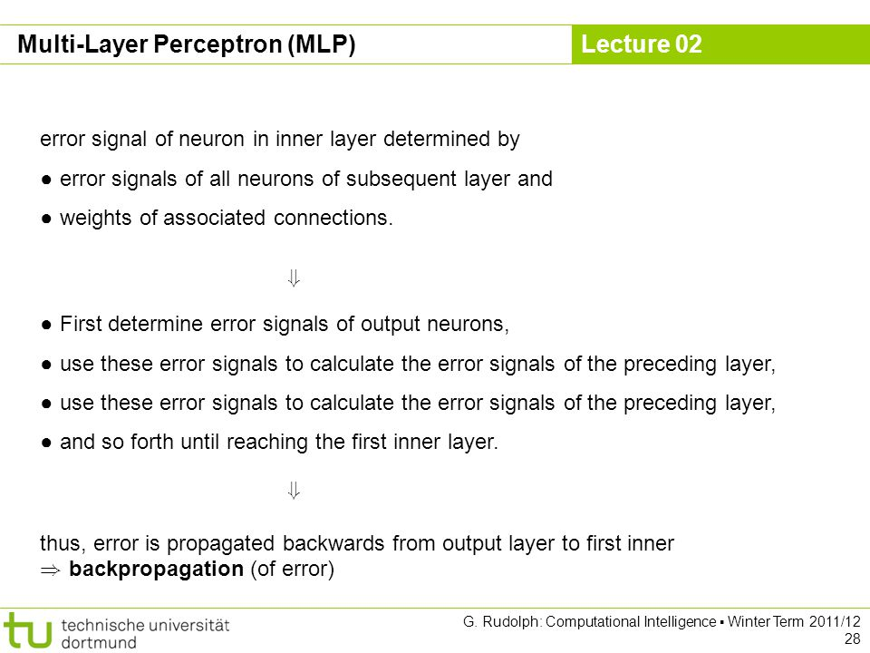 Lecture 02 G. Rudolph: Computational Intelligence Winter Term 2011/12 28 error signal of neuron in inner layer determined by error signals of all neur