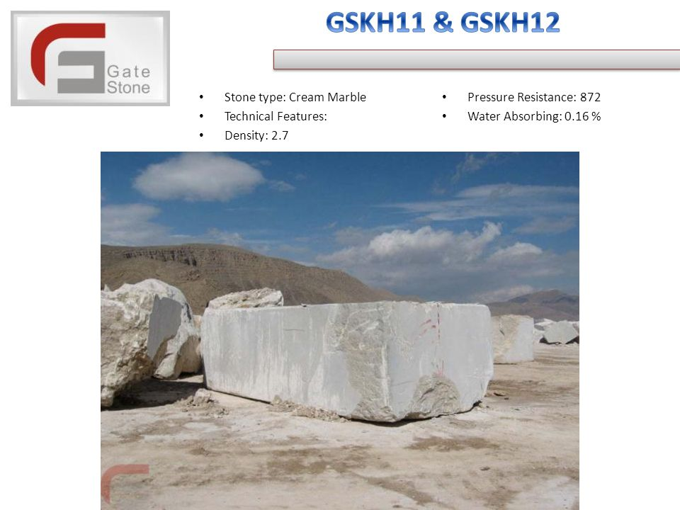 Stone type: Cream Marble Technical Features: Density: 2.7 Pressure Resistance: 872 Water Absorbing: 0.16 %