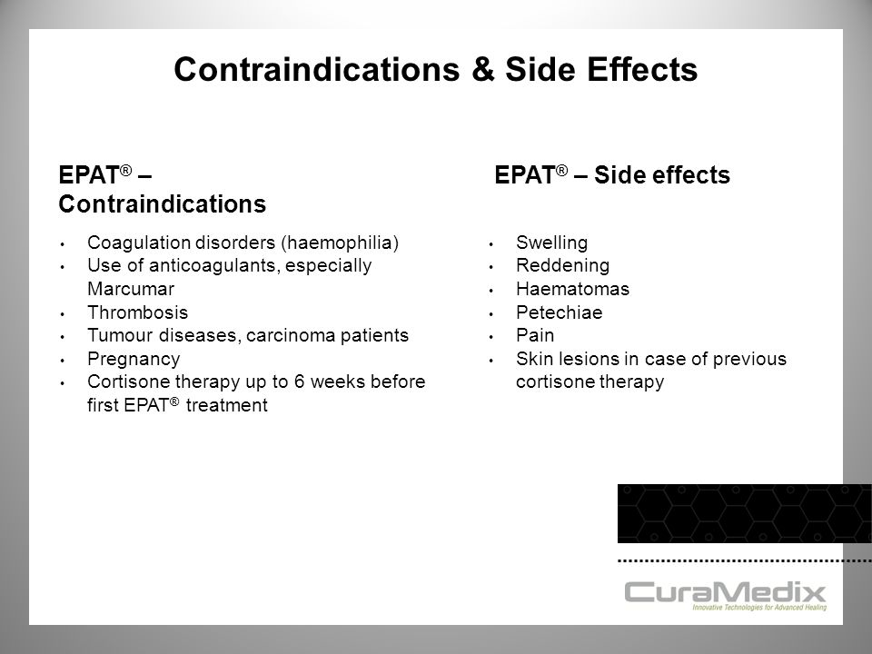 Contraindications & Side Effects Coagulation disorders (haemophilia) Use of anticoagulants, especially Marcumar Thrombosis Tumour diseases, carcinoma