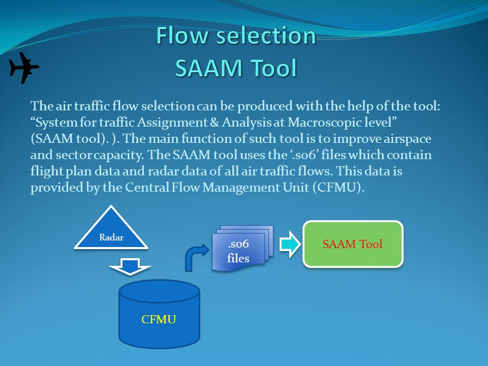 The air traffic flow selection can be produced with the help of the tool: System for traffic Assignment & Analysis at Macroscopic level (SAAM tool).