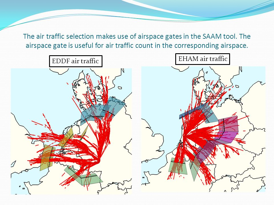 The air traffic selection makes use of airspace gates in the SAAM tool.