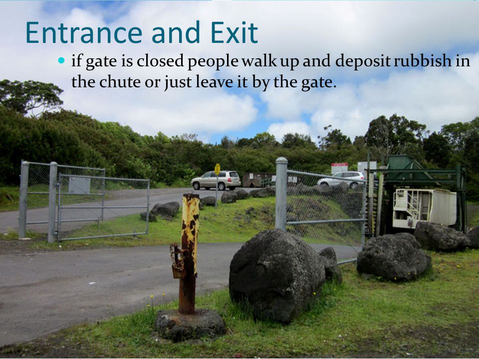 Entrance and Exit if gate is closed people walk up and deposit rubbish in the chute or just leave it by the gate.