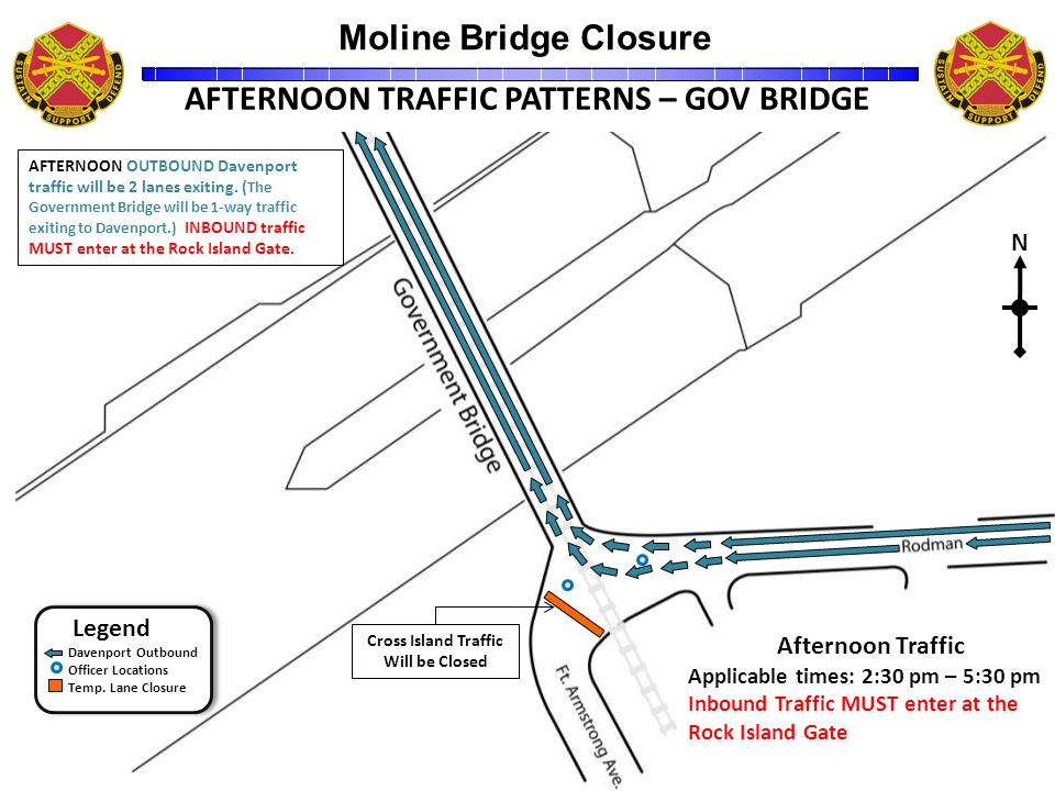 Moline Bridge Closure Unclassified 13 31500ZDec09 AFTERNOON TRAFFIC PATTERNS – GOV BRIDGE Legend Davenport Outbound Officer Locations Temp.