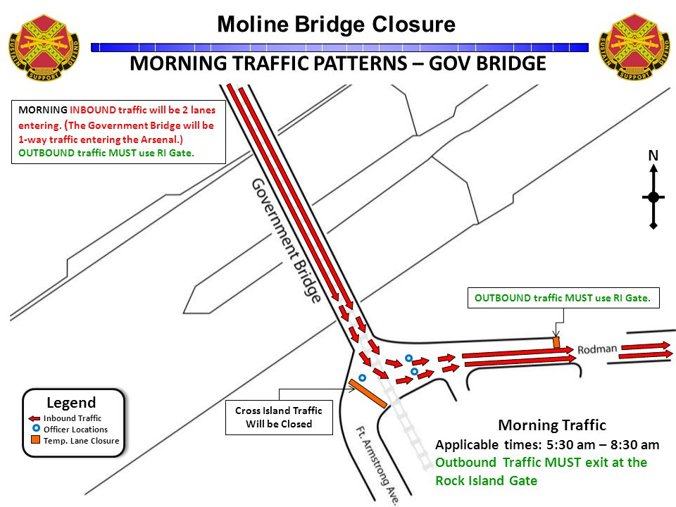 Moline Bridge Closure Unclassified 6 31500ZDec09 MORNING TRAFFIC PATTERNS – GOV BRIDGE Legend Inbound Traffic Officer Locations Temp.
