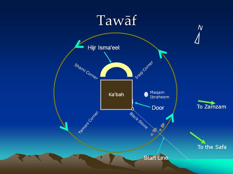 Tawāf Yamani Corner Shami Corner Iraqi Corner Black Stone Maqam Ibraheem Start Line Hijr Isma eel Door Ka bah To Zamzam To the Safa N