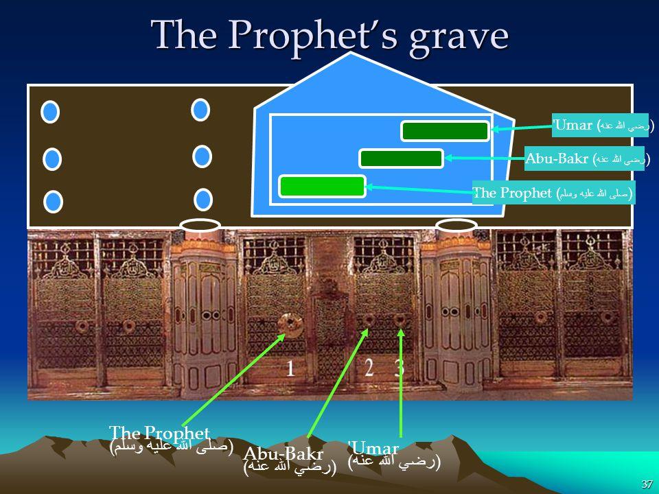 37 The Prophet ( صلى الله عليه وسلم ) Umar ( رضي الله عنه ) Abu-Bakr ( رضي الله عنه ) The Prophets grave The Prophet ( صلى الله عليه وسلم ) Abu-Bakr ( رضي الله عنه ) Umar ( رضي الله عنه )