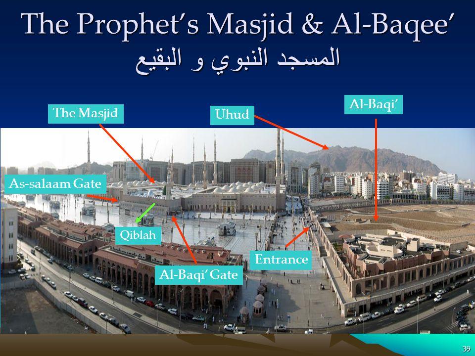 The Prophets Masjid & Al-Baqee المسجد النبوي و البقيع 39 Qiblah The Masjid Al-Baqi Uhud Entrance Al-Baqi Gate As-salaam Gate