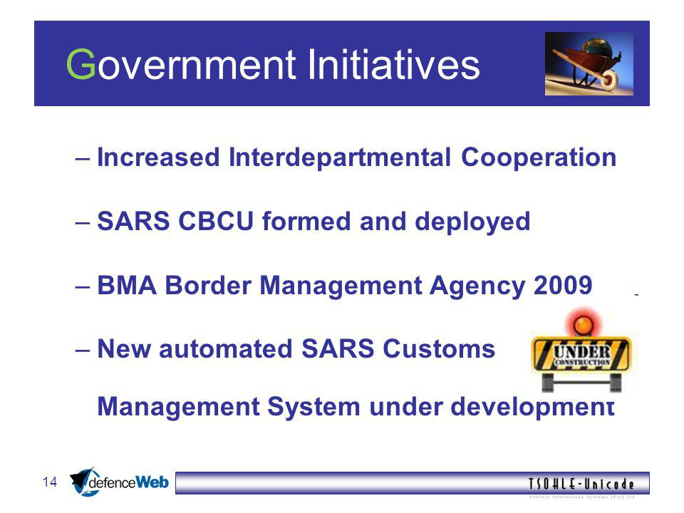 14 Government Initiatives –Increased Interdepartmental Cooperation –SARS CBCU formed and deployed –BMA Border Management Agency 2009 –New automated SARS Customs Management System under development