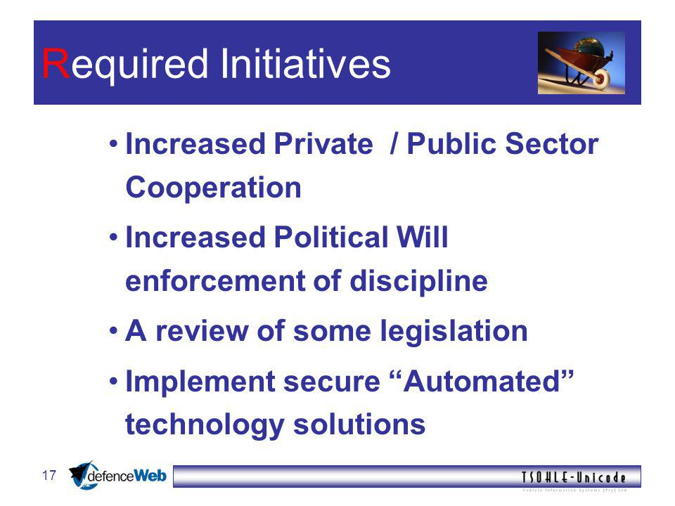 17 Required Initiatives Increased Private / Public Sector Cooperation Increased Political Will enforcement of discipline A review of some legislation Implement secure Automated technology solutions