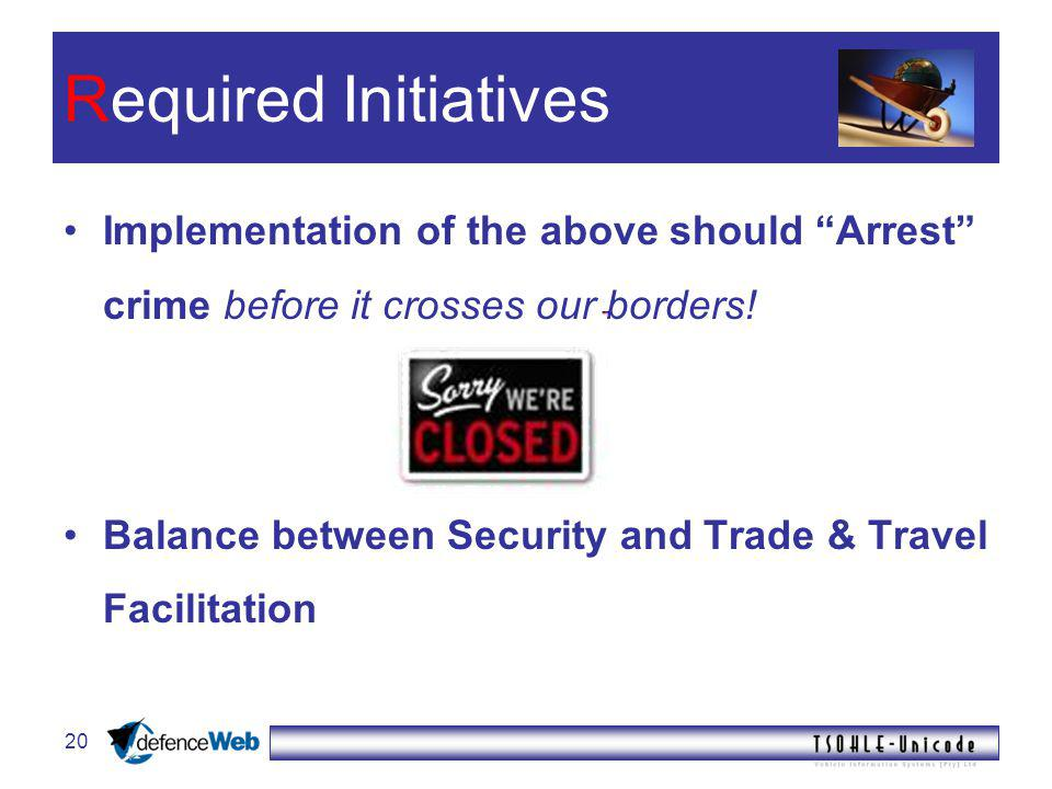 20 Required Initiatives Implementation of the above should Arrest crime before it crosses our borders.