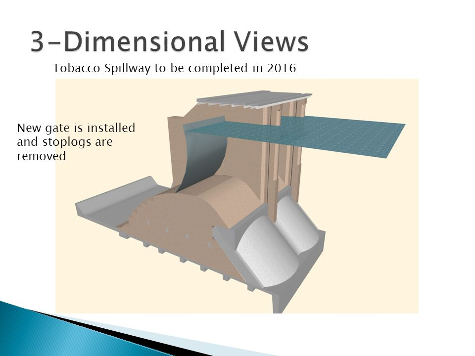 Tobacco Spillway to be completed in 2016 New gate is installed and stoplogs are removed