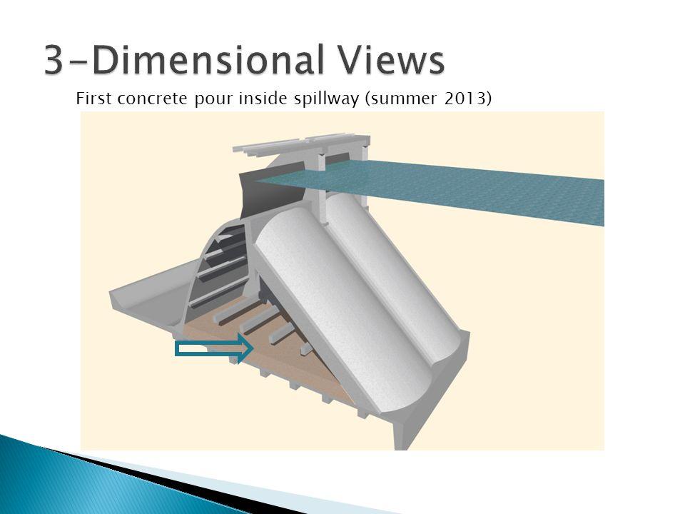 First concrete pour inside spillway (summer 2013)