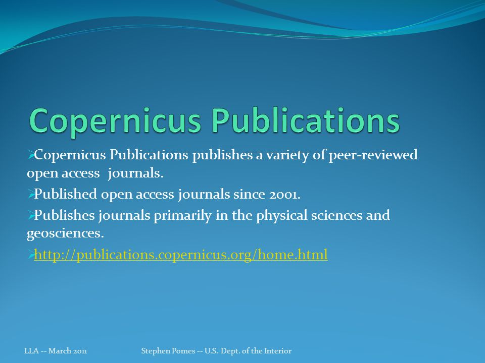 Copernicus Publications publishes a variety of peer-reviewed open access journals.