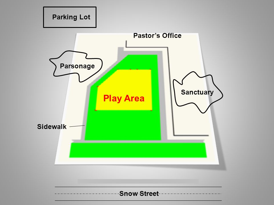 Sanctuary Pastors Office Parsonage Sidewalk Parking Lot Snow Street Play Area