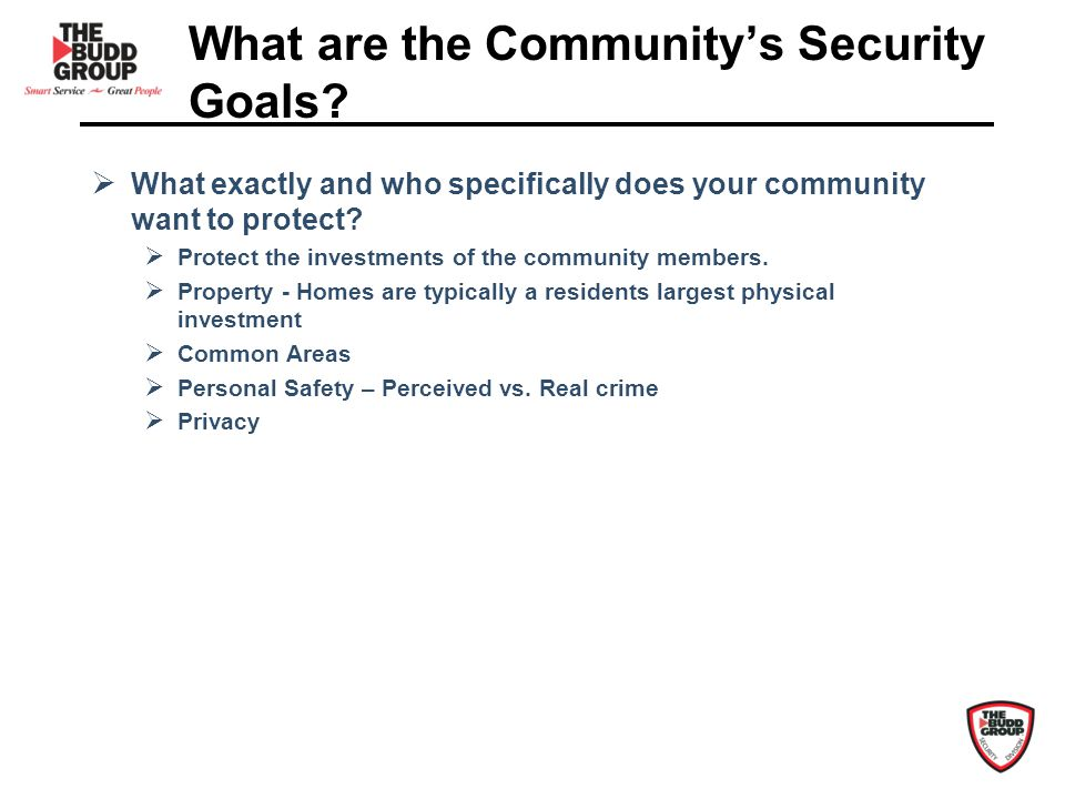What are the Communitys Security Goals.