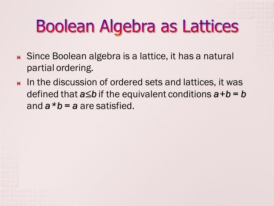 Since Boolean algebra is a lattice, it has a natural partial ordering. In the discussion of ordered sets and lattices, it was defined that ab if the e