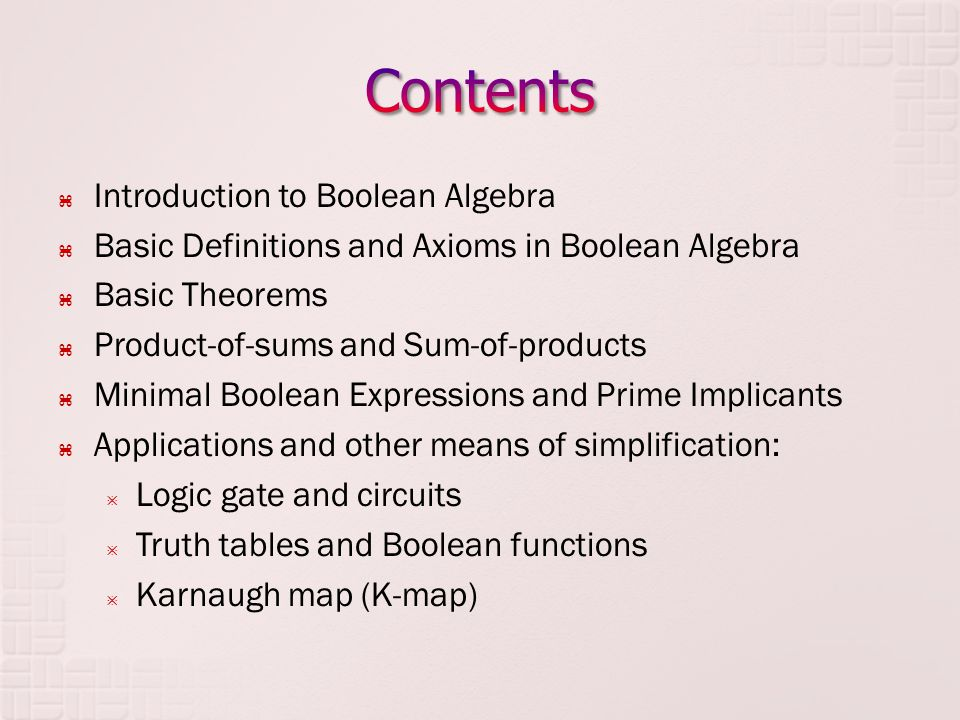 Introduction to Boolean Algebra Basic Definitions and Axioms in Boolean Algebra Basic Theorems Product-of-sums and Sum-of-products Minimal Boolean Exp