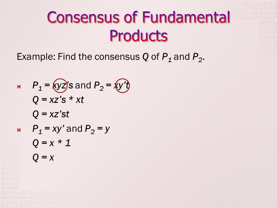 Example: Find the consensus Q of P 1 and P 2. P 1 = xyzs and P 2 = xyt Q = xzs * xt Q = xzst P 1 = xy and P 2 = y Q = x * 1 Q = x
