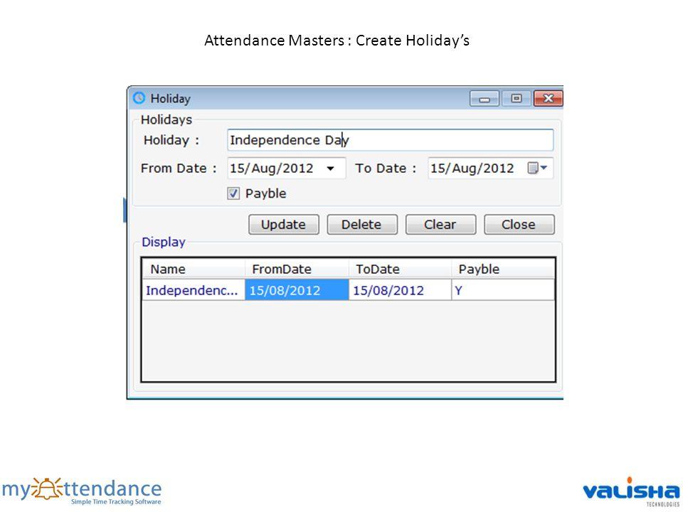 Attendance Masters : Create Holidays