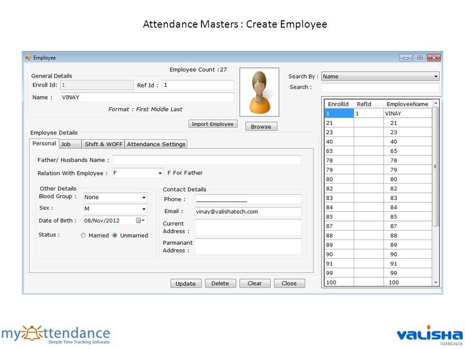 Attendance Masters : Create Employee