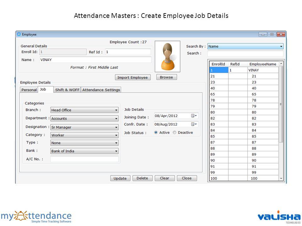 Attendance Masters : Create Employee Job Details