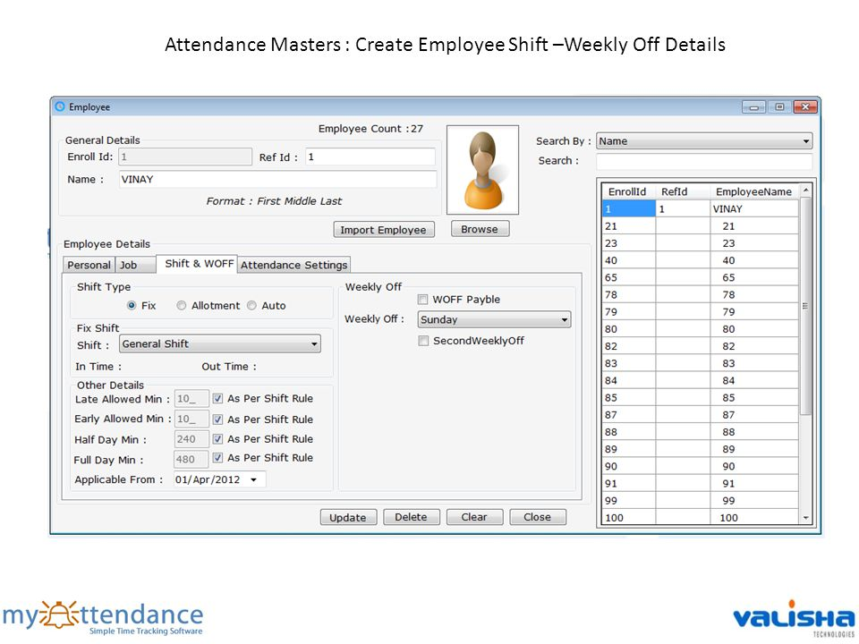 Attendance Masters : Create Employee Shift –Weekly Off Details