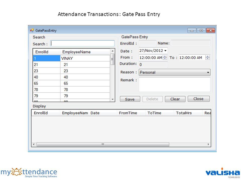 Attendance Transactions : Gate Pass Entry