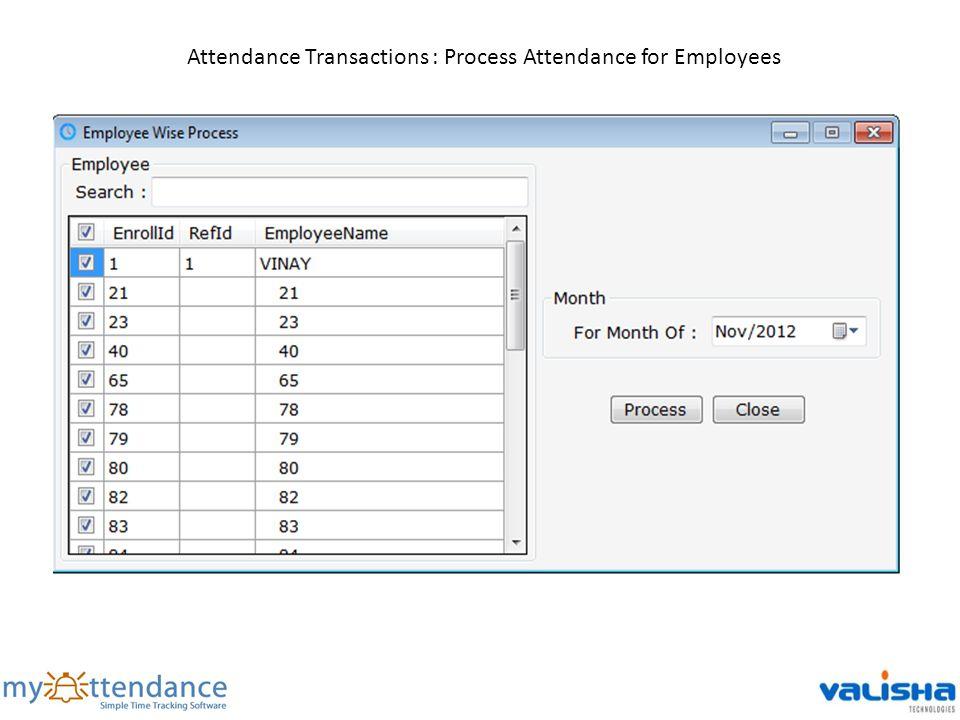 Attendance Transactions : Process Attendance for Employees