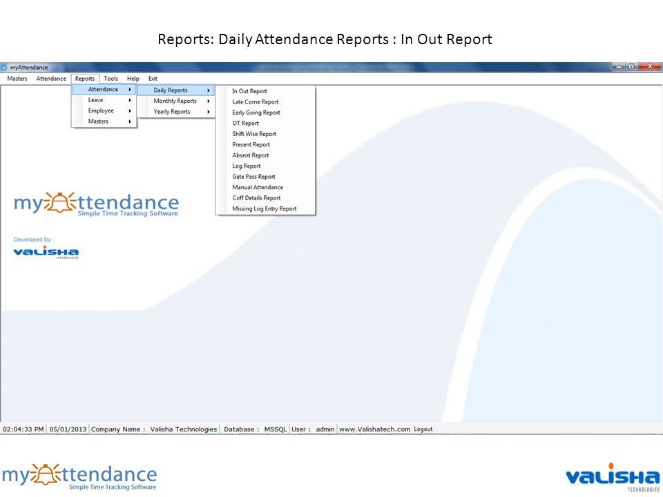 Reports: Daily Attendance Reports : In Out Report
