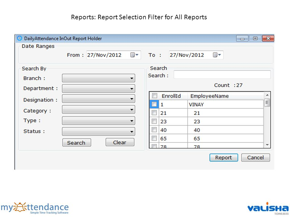 Reports: Report Selection Filter for All Reports