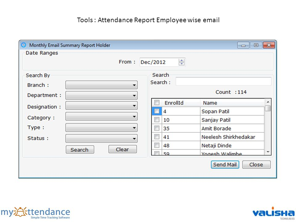 Tools : Attendance Report Employee wise email