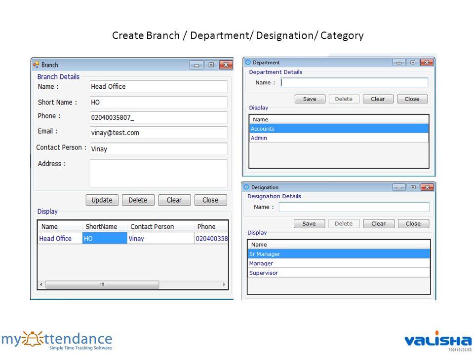 Create Branch / Department/ Designation/ Category