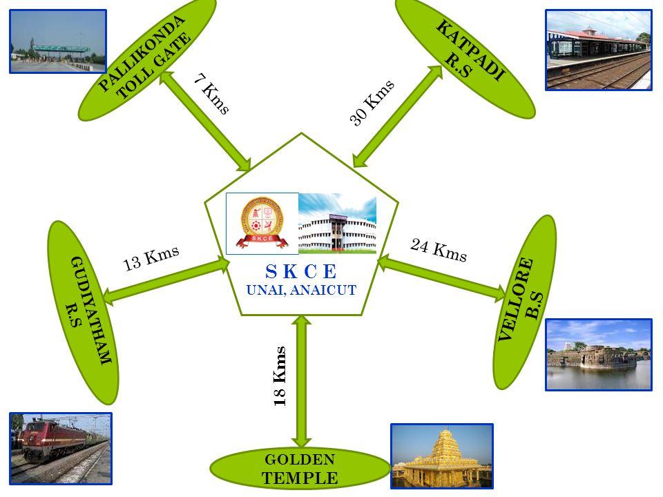 S K C E UNAI, ANAICUT GOLDEN TEMPLE VELLORE B.S KATPADI R.S PALLIKONDA TOLL GATE GUDIYATHAM R.S 13 Kms 24 Kms 18 Kms 7 Kms 30 Kms