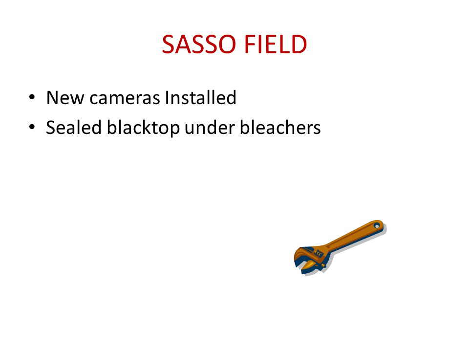 SASSO FIELD New cameras Installed Sealed blacktop under bleachers